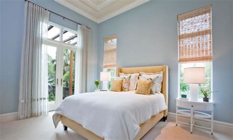 Apricot and Pastel Blue Bedroom   Interiors By Color