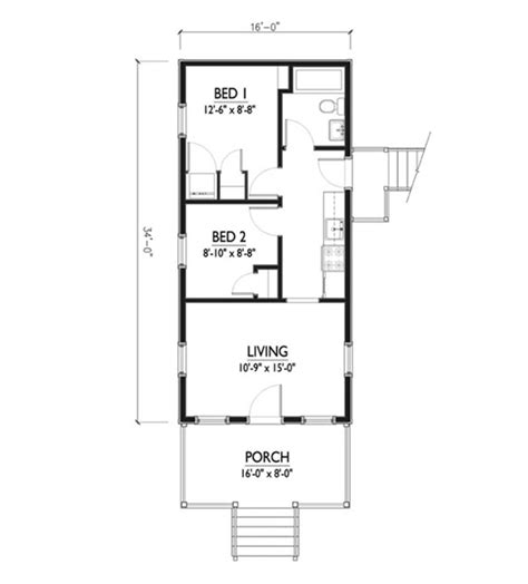 cottage style house plan 2 beds 1 00 baths 544 sq ft