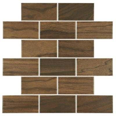 daltile parkwood brown 12 in x 12 in ceramic brick joint