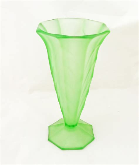 Frosted Glass Vase Vintage Frosted Green Glass Vase Deco Vase Davidson