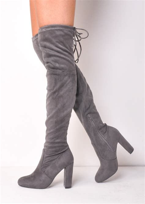 High Grey thigh high tie back faux suede knee high heeled boots