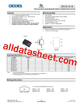 diodes inc ta suffix bcx5616ta 데이터시트 pdf diodes incorporated