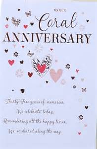 our coral wedding anniversary card crediton card centre