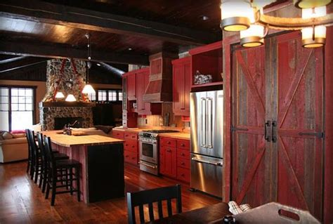 rustic red kitchen cabinets red cabinets home decor pinterest land s end red
