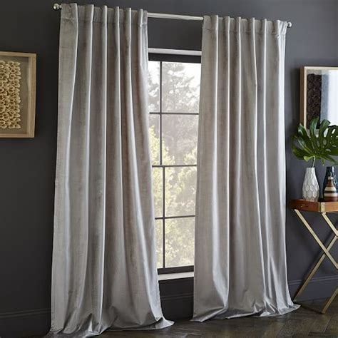 west elm velvet curtains cotton luster velvet curtain platinum products