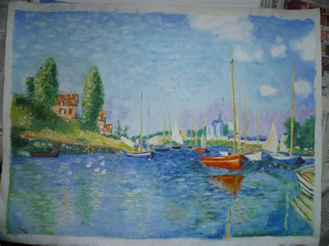 monet boats at argenteuil red boats at argenteuil claude monet copy by seytho on