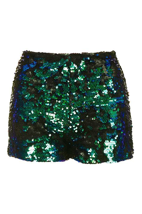 beaded shorts topshop sequin shorts by we all shine in green lyst