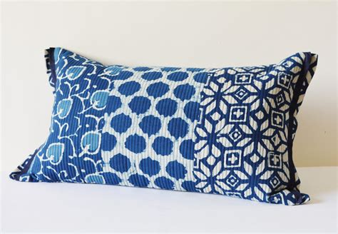 bed and pillow covers quilted cotton block printed indigo pillow cover beautiful