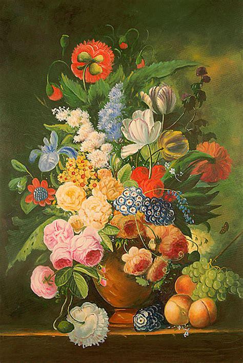 quadri fiamminghi fiori falso di autore vaso di fiori con pesche e uva di