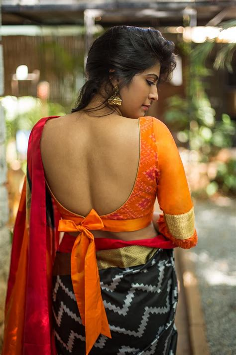 Blouse By Anty S Shop orange ikat silk blouse with frills on sleeves sexyback houseofblouse blouse backs