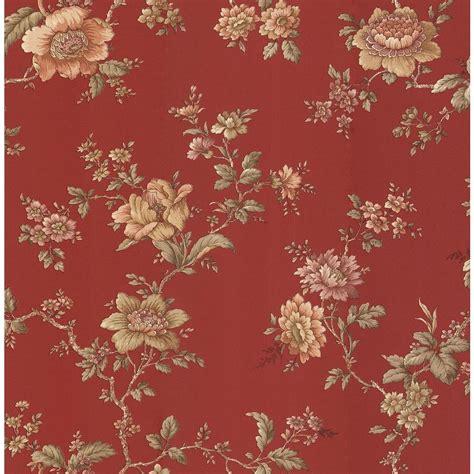 brewster madison red jacobean floral wallpaper sample