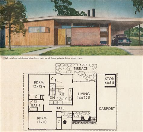 Mid Century Home Plans | mid century california modern house plan better homes garden five star homes 1960