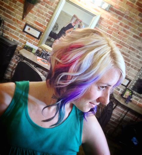 teal fine hair vigina inverted bob blonde purple teal and rainbow my