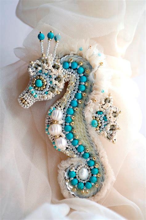brooch seahorse bead embroidery agija rezcova