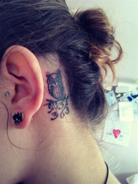 small owl tattoo behind ear owl behind the ear tattoo design for women miley cyrus