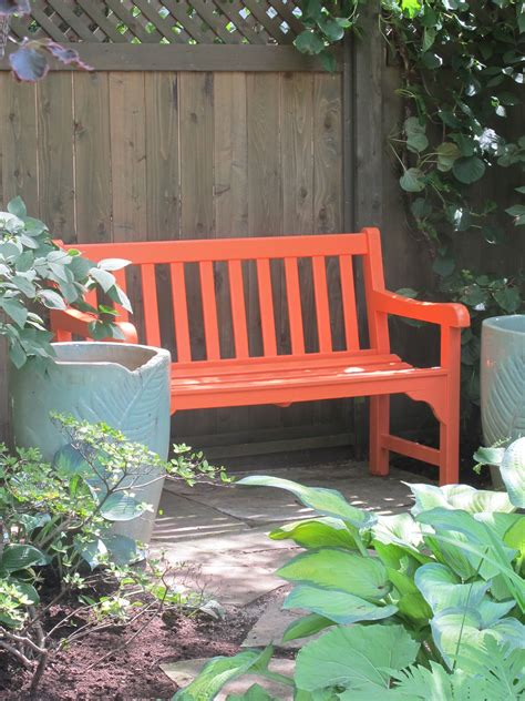 painted wooden benches tangerine bench between blue pots gardens pinterest