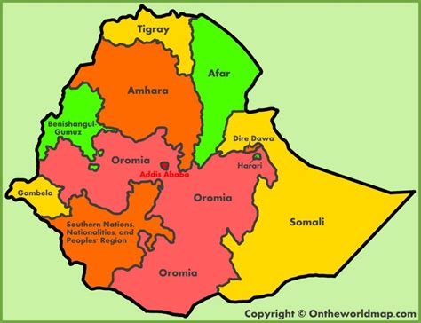administrative map  ethiopia