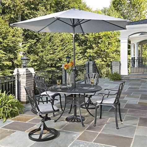 Umbrella Patio Sets Home Styles Largo 5 Patio Dining Set With Gray Cushions And Umbrella 5560 32586c The