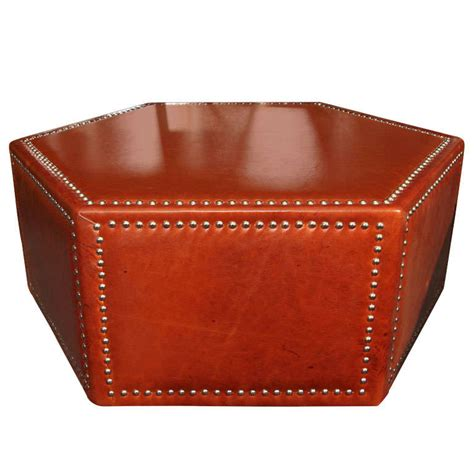 Leather And Nailhead Upholstered Ottoman Coffee Table At Nailhead Coffee Table