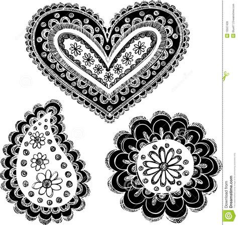 sketchy doodle reversed henna paisley set royalty free