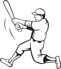 baseball coloring pages baseball batter swinging coloring page free printable