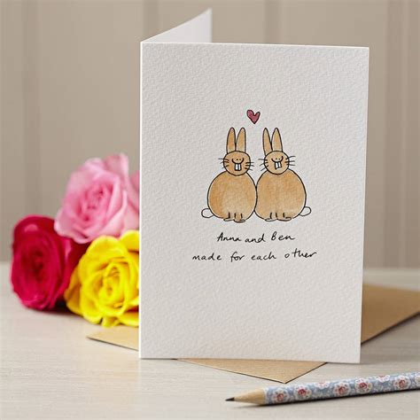 Personalised Handmade Cards - personalised lovebunnies handmade card by