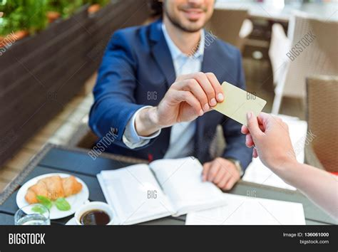 pay at table restaurant take this payment confident young image photo bigstock