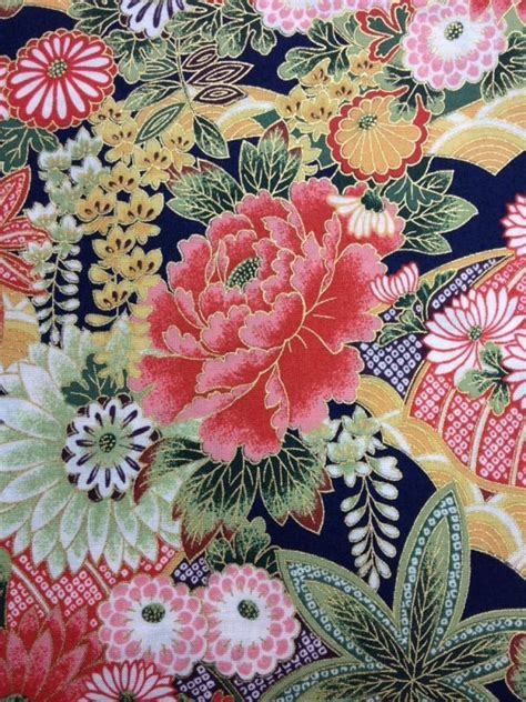 asian poppy floral japanese spring cotton fabric quilt
