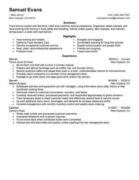 Fast Food Resume best fast food server resume exle livecareer