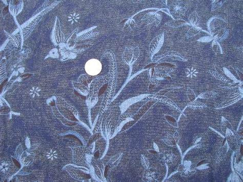 Vintage Crystal Chandeliers Retro Vintage Hummingbird Print Cotton Denim Indigo Blue