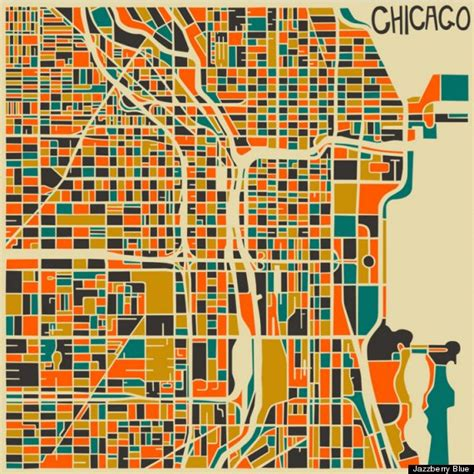 chicago map drawing abstract artist jazzberry blue creates colorful modern