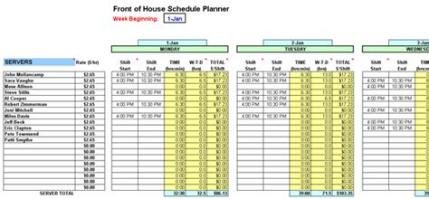 restaurant schedule planner writer restaurant resource