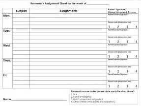 High School Assignment Sheet Template by Printable Planners Calendars Calloway House