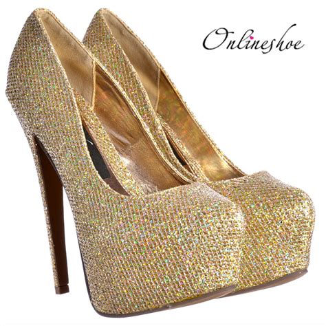 high heels sparkly onlineshoe sparkly gold shimmer glitter high heel stiletto
