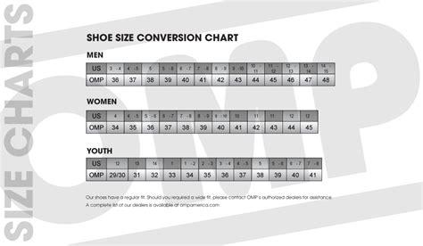 sport shoes size chart 28 images omp sport determine