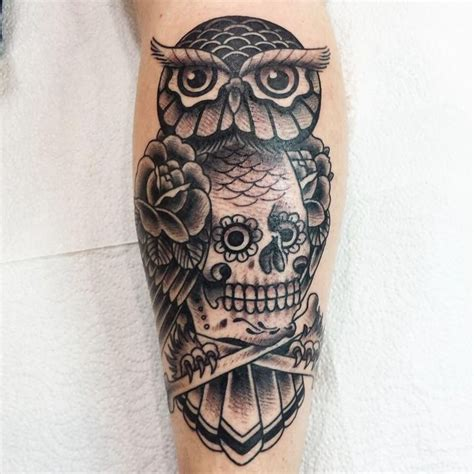 tattoo owl black and grey owl and skull tattoo traditional tattoo black and grey