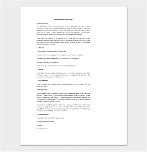 Catering Business Plan Template 11 For Word Doc Pdf Format Free Business Plan Template Catering Company