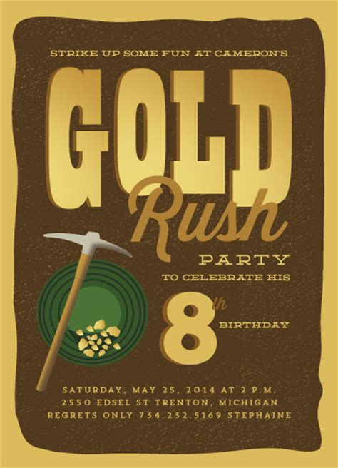 gold mining themes party invitations gold mine at minted com