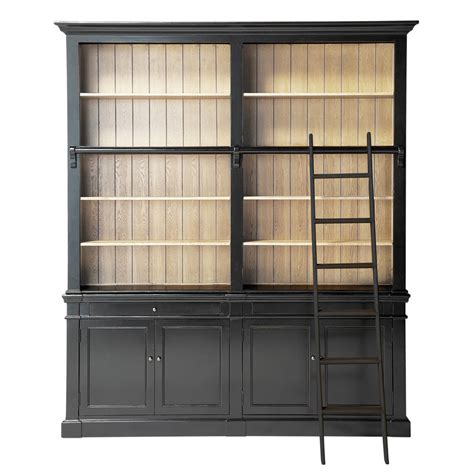 Solid Wood Bookcase With Ladder In Black W 201cm Bookcase With Ladder