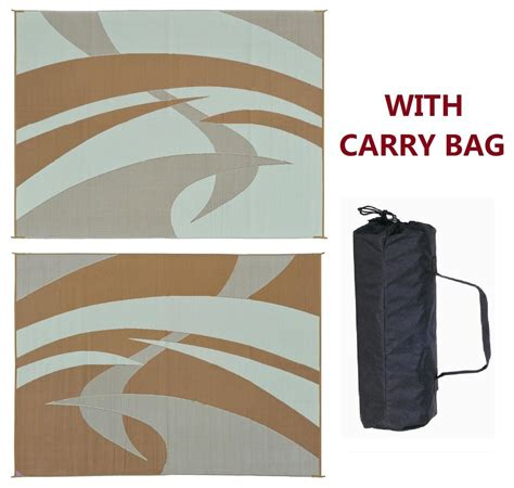 rv rugs for outside rv patio awning mat outdoor rug 9x12 brown beige 159127 ebay