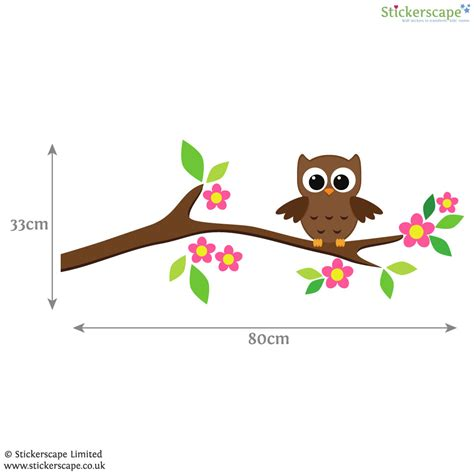 owl tree wall stickers owl on a tree branch wall sticker stickerscape uk