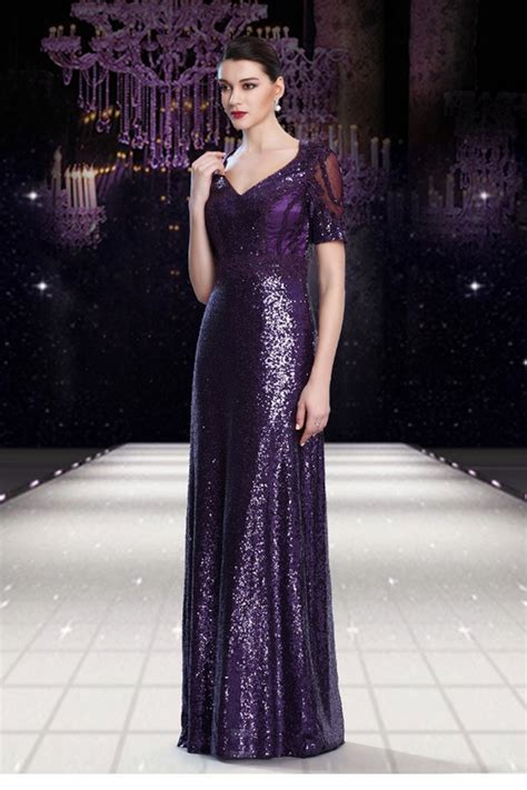 Sequin Sleeve Avail In 3 Colours Place 08 stunning v neck sheer back purple sequin formal occasion evening dress with sleeves