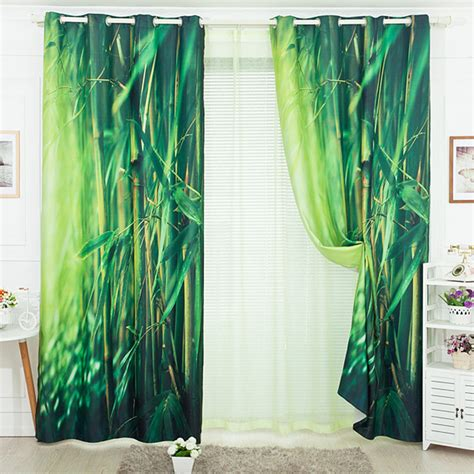 leaf print curtains pastoral style bamboo leaf print curtains decoration green