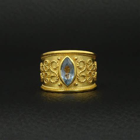 Handmade Gold Rings - ring blue topaz cz byzantine style 925 sterling silver 22k