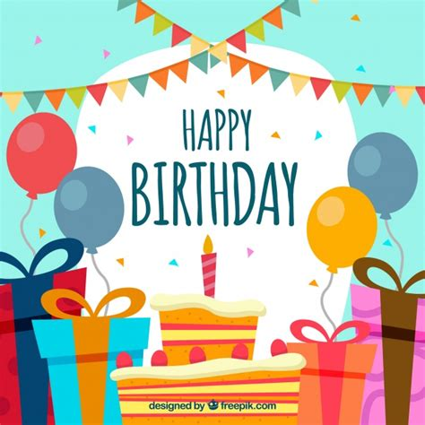 happy birthday background design vector happy birthday background in flat design vector free