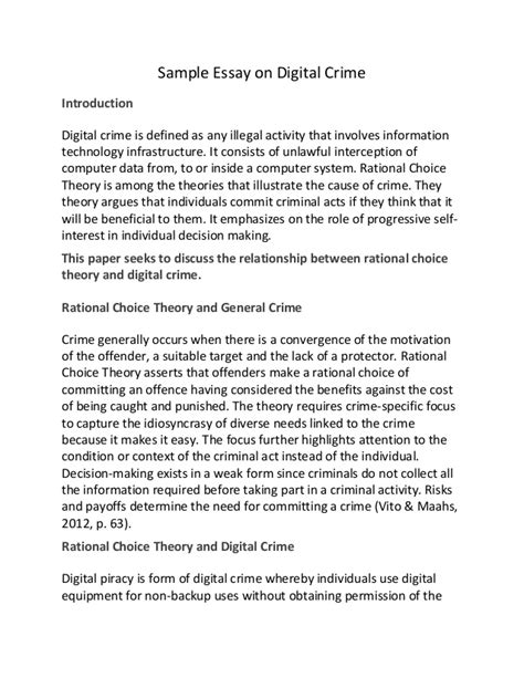 Crime And Violence Essay by Sle Essay On Digital Crime