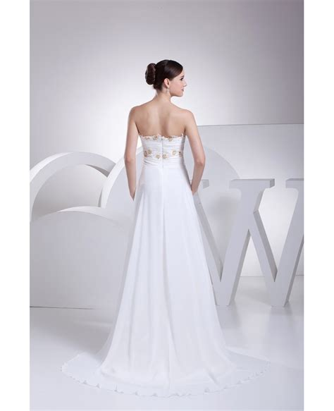 Strapless White Wedding Dresses by Strapless Lace Beaded Chiffon White Wedding Dress With