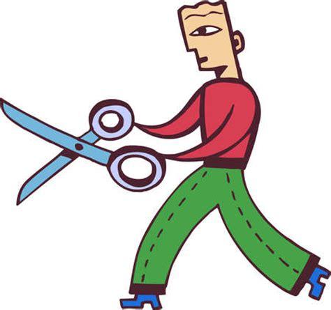 cartoon haircut scissors stock illustration illustration of a businessman holding
