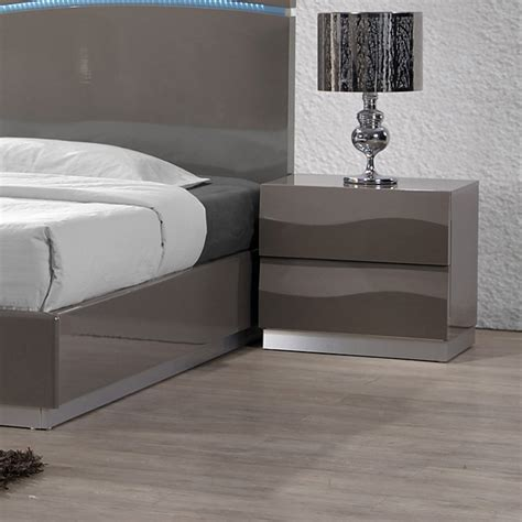 delhi contemporary nightstand glossy gray 2 drawers