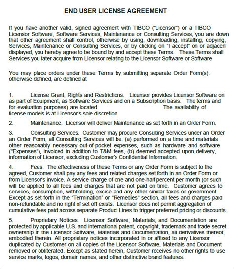 free software license agreement template end user license agreement 6 free pdf doc